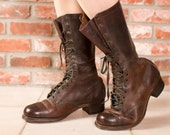 Vintage 1940s Boots - Men's Rare Brown Red Wing Work Boots Size 8.5 D