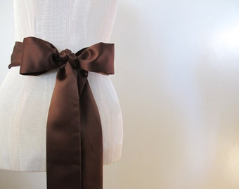 Brown Matte Satin Sash Bow Belt Wedding Sash Bridal Sash Bridesmaid Sash - by ccdoodle on etsy - made to order