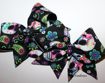AWESOME Day of the Dead Cheer Hairbow by Funbows