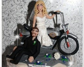 Bride Dragging Groom on Motorcycle, personalized wedding cake topper