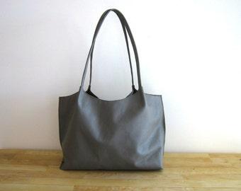 Grey / Gray Leather Tote Shoulder Bag