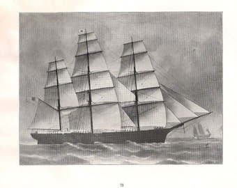 Old Print of the Sailing Ship National Eagle, built in 1852