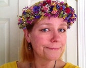 Dried flower head wreath or halo. In a rainbow of colors. A beautiful crown for your garden wedding.