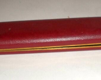 Vintage Jewelry Case - Metal Watch Caset - Jewelry Case - Red Metal Flip Open Case - Old Jewelry Case - Jewelry Box