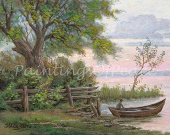 fisherman - landscape - boat - tree - 11 x 14 Print - FREE SHIPPING this WEEK