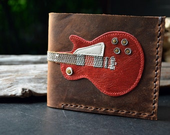 Hand Stitch Men Wallet GIBSON LESPAUL Colored Red #5