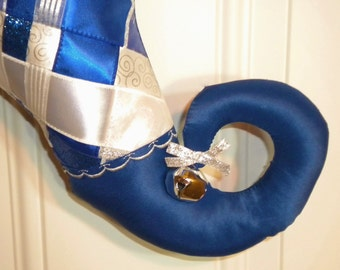 Christmas Stocking of Woven Ribbons with Curly Elf Toe in Blue, White and Silver