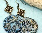Polymer clay earrings, Handmade blue & gold flower design, Big texture series, ready to ship