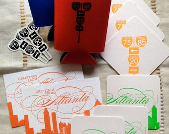 Atlanta Gift Packs-- Letterpress coasters and postcards, plus drink huggers and stickers