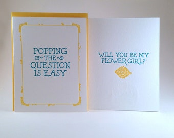 Will You Be My Flower Girl Letterpressed Card (individual card)