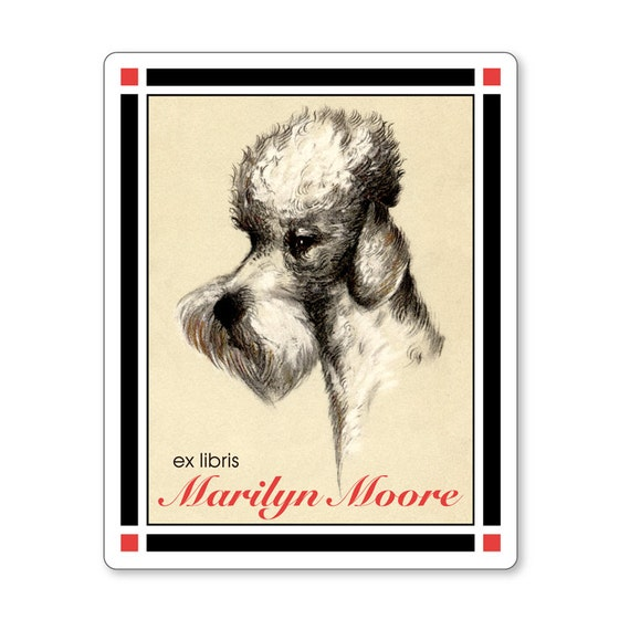 French Poodle Ex Libris Vintage Personalized Bookplates - HOSTESS GIFT