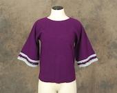 Clearance SALE vintage 60s Sweater - Boho 1960s Purple Bell Sleeve Sweater SZ M