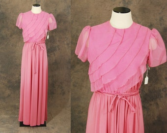 Clearance Sale vintage 70s Maxi Dress - 1970s Deadstock Pink Ruffled Petal Top Party Dress Sz S