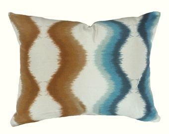 Ombre Pillow Cover, Coastal Pillows, Blue Tan Pillow Covers, Ikat Pillow, Cream Blue Tan, Luxury Silk Pillow, Beach Home Decor, 12x18 Lumbar
