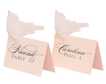 Love Bird Escort Cards - place card, table number, wedding, blush pink, pale pink, reception card, seating chart, romantic, elegant, bride