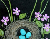Grassy NEST With Blue Eggs and Wood Violets Original Acrylic CANVAS Painting