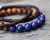 Lapis Lazuli Sandalwood Unisex Beaded Bracelet / Cobalt Blue Nutmeg Wood Brown Beadwork, Mens Bracelet, Dude Boho Manly Natural Gemstone