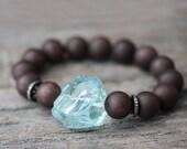Diamond Blue Quartz Bead Bracelet Jade Beadwork Boho Statement Bracelet, Chocolate Brown Ice Sky Aqua Blue Quartz Crystal, Sterling Silver
