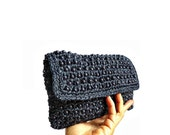 HENIE French Vintage Woven Beads Blue Purse