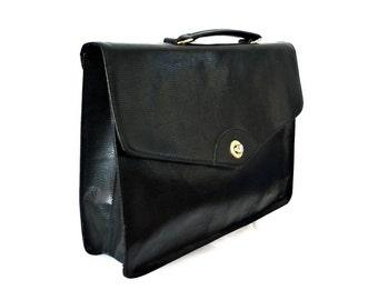SYLVAIN French Vintage Black Vegan Briefcase