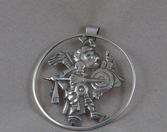Vintage Taxco Aztec God Sterling Silver Pendant -Pin