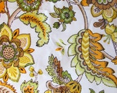 1+ yard Vintage Waverly Golden Floral / Heavy Cotton Sateen / Vintage 1960s Yardage / Craft or Home Fabric / 49 wide x 46 long