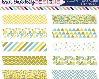 Digital Scrapbooking Clipart Yellow & Blue Washi Tape Graphics