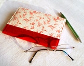 Fabric Journal Cover - Red Cherry Blossoms - Handmade Fabric Covered A6 Notebook, Diary - Burgundy Japanese Flowers