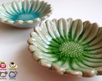 Ceramic Plate, sunflower, flower, ceramic saucer, soap dish, green, sauce, small, ceramic bowl, decoration, decor, decorative, saucer, round