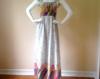 Vintage 1970's Prairie Chic Floral Pinafore Maxi Dress