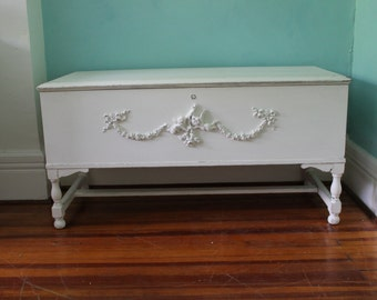 custom order FAB antique cedar hope chest shabby chic white distressed cottage blanket prairie