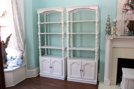 Wall Unit Shelf Pair Shabby Chic White Distressed Bookcase