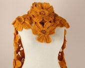 SPECIAL SALE - Mustard Yellow Daisy Flower Scarf , Scarflette,shawl - Made To Order