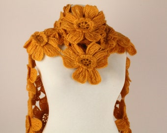 Mustard Yellow Daisy Flower Scarf , Scarflette,shawl - Made To Order