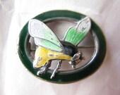 BUZZ. Vieux Vintage en argent émail peint broche abeille