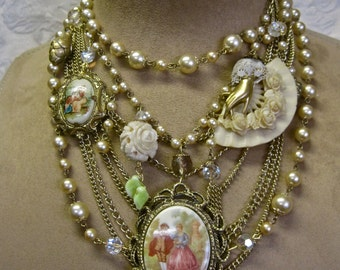 A Budding Romance: Victorian Necklace Choker Vintage Assemblage Pearls Celluloid Rose Fan Cameos Roses BRIDAL Statement One of a Kind OOAK