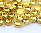 50 Gold Tone Brass Charms Rhinestone Base Setting Connectors, Findings  (9x5 mm)