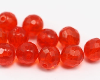 10 Red Czech Glass 12 Mm Faceted Beads Cf-11