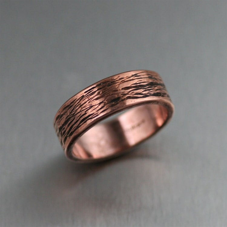 7mm Bark Mens Copper Ring Copper Wedding Bands Mens By