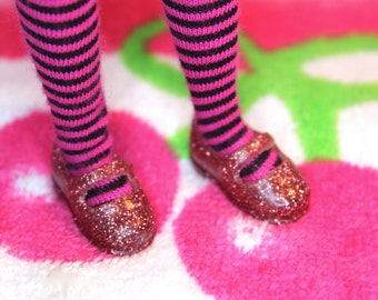 Licca Blythe Dusty Pink glitter Flat Mary Jane Doll shoes