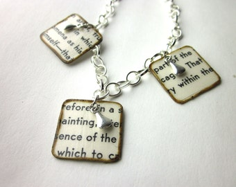 Book page necklace, literary necklace, Book page pendant, Art of Today