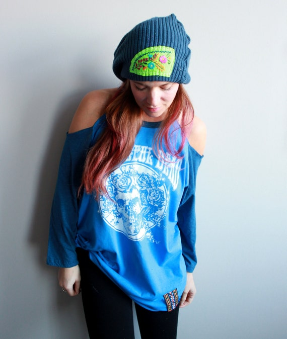 Grateful Dead Bertha Skeleton Blue Raglan Open Shoulder Upcycled Oversized Tshirt/Tee/Top/Shirt Womens Hippie Boho Festival Vintage Trim O/S