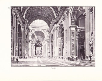 1909 Architecture Print - St Peters Basilica Vatican City Rome - Vintage Antique Art Illustration Interior Design for Framing 100 Years Old