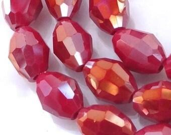 "AB Ruby Quartz Faceted Barrel Beads 16"" 10x7mm (e7043)"