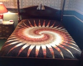 Disappearing Spiral Bargello Bed Quilt