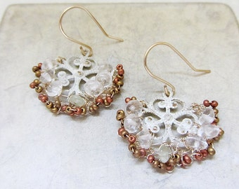 Beaded Crystal Earrings,  14k gold filled