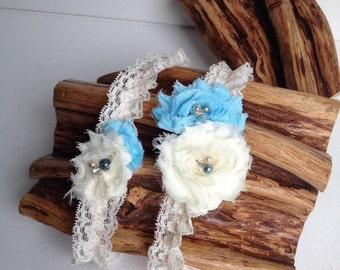Wedding Garter Set /  Something Blue Garter / Bridal Garter Set