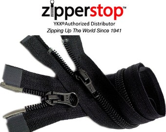 36 Inch Black YKK Dual Zipper - 2 way Winter Jacket YKK Number 5 Nylon Coil -  Separating  By each