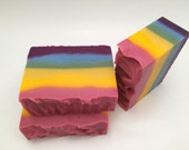 Rainbow Pride Handmade Soap-Gorgeous multicolored 5 to 6 oz Bars- Scented with a combo of Jolly Rancher and Acai Berry