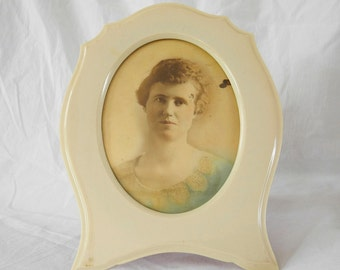 Vintage celluloid picture frame with photo 1920s Pyralin Dubarry Art Deco flapper